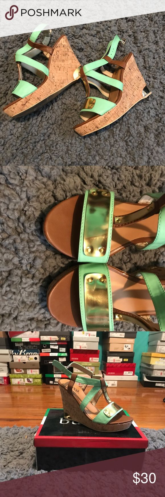 Mint green wedge sandal Worn once. Very comfortable! Bucco Shoes Wedges