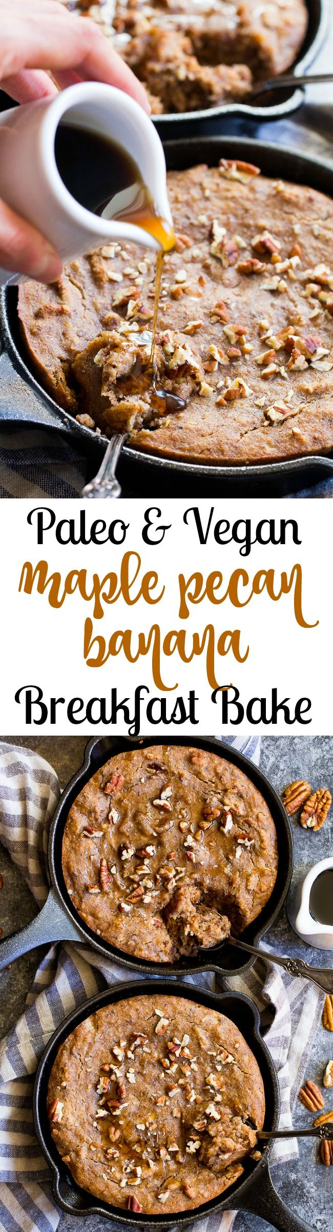 This healthy paleo and vegan banana breakfast bake is loaded with maple flavor, cinnamon and hearty pecans for a sweet satisfying breakfast treat. Gluten free, dairy free, egg free, refined sugar free, oil free and kid approved!