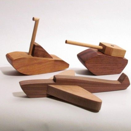 Wooden War Toys - Fighter/bomber plane, boat, and tank made from thick wood.