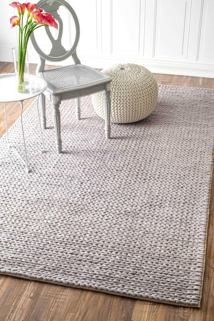 Hand Woven Chunky Woolen Cable Rug in Light Grey design by Nuloom