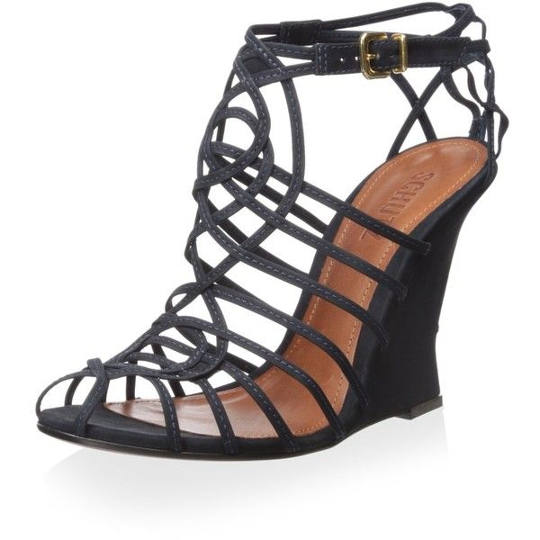 Schutz Women's Caged Wedge Sandal (€39) ❤ liked on Polyvore featuring shoes, sandals, schutz, cage shoes, wedge sole shoes, wedge shoes and wedge heel sandals