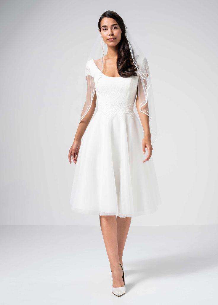 Kurzes Brautkleid aus Tüll und Spitze mit kurzen Ärmeln ...