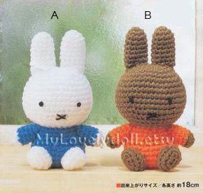 Mini Nijntje konijn Amigurumi haak PDF patroon in door MyLovelyDoll