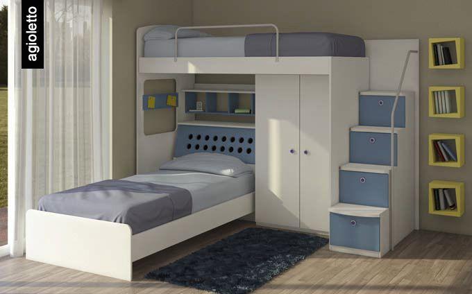 Las escaleras con cajones grandes y el placard debajo de la cama tambi n ayudan a optimizar - Camas grandes ...