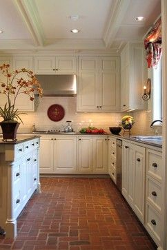 """stained/waxed brick floors. some details in the link. lady says """"does not require much upkeep""""! i like the 90° pattern."""