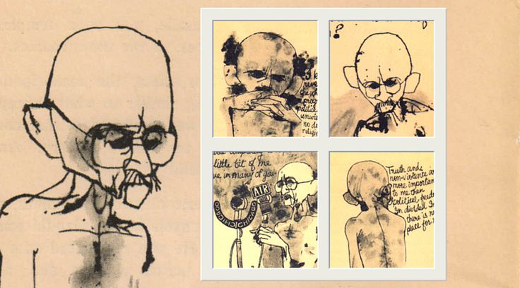 Mickey Patel's rare sketches of Gandhi