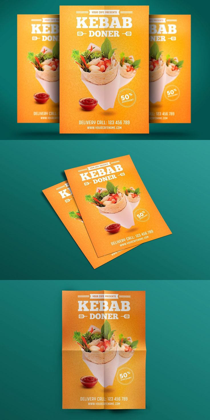 Doner kebab flyer can be used for your fast food