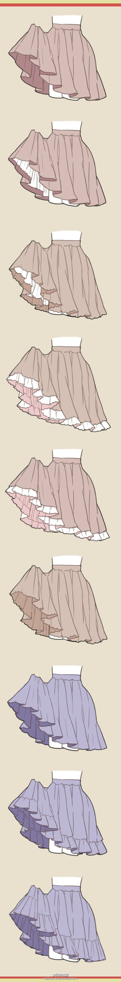 Different ways to draw ruffled skirts. -- Drawing tools, inspiration, creativity, tutorial, reference sheet, guide, girl, cute, poses