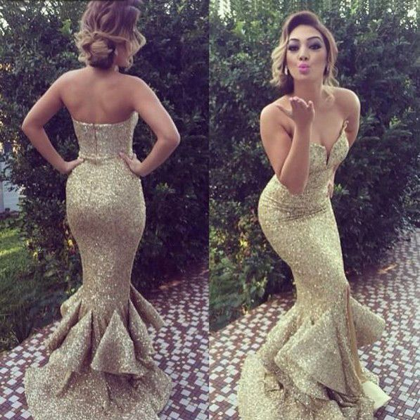 Long Elegant Gold Sequins Prom/Party Dress -- Mermaid/Trumpet Sweetheart