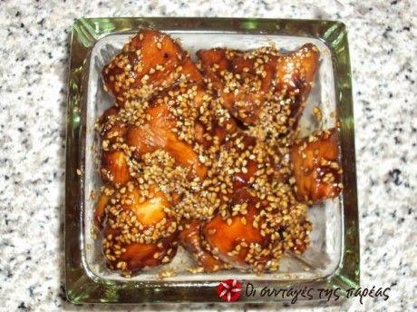 Ασιάτικες κοτοπουλομπουκιές  σογια σος,μελι,λεμονι,σισαμι