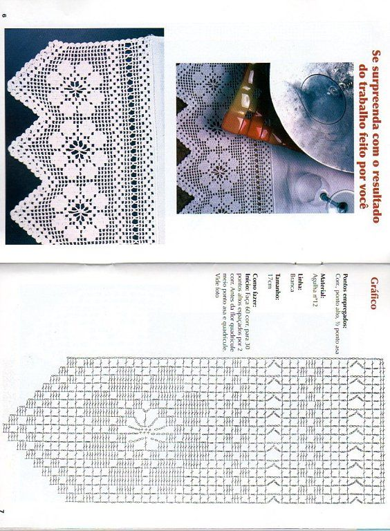 Filet lace edging with diagram #1