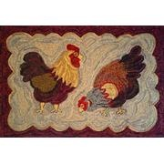 Two Chickens, Rug Hooking...I like the scalloped border.
