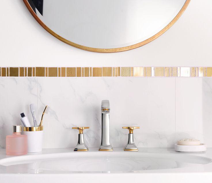 Classic bathroom design: Nostalgic mixer with golden accents in the cross handle variant. #hansgrohe #MetropolClassic #Metropol