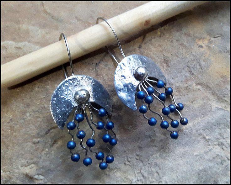 Lunula earrings, royal blue, hematite, pagan, ancient symbol, boho, dangle earrings, patinated tin, tinned brass, crescent moon, gemstone by KatalinaArt on Etsy