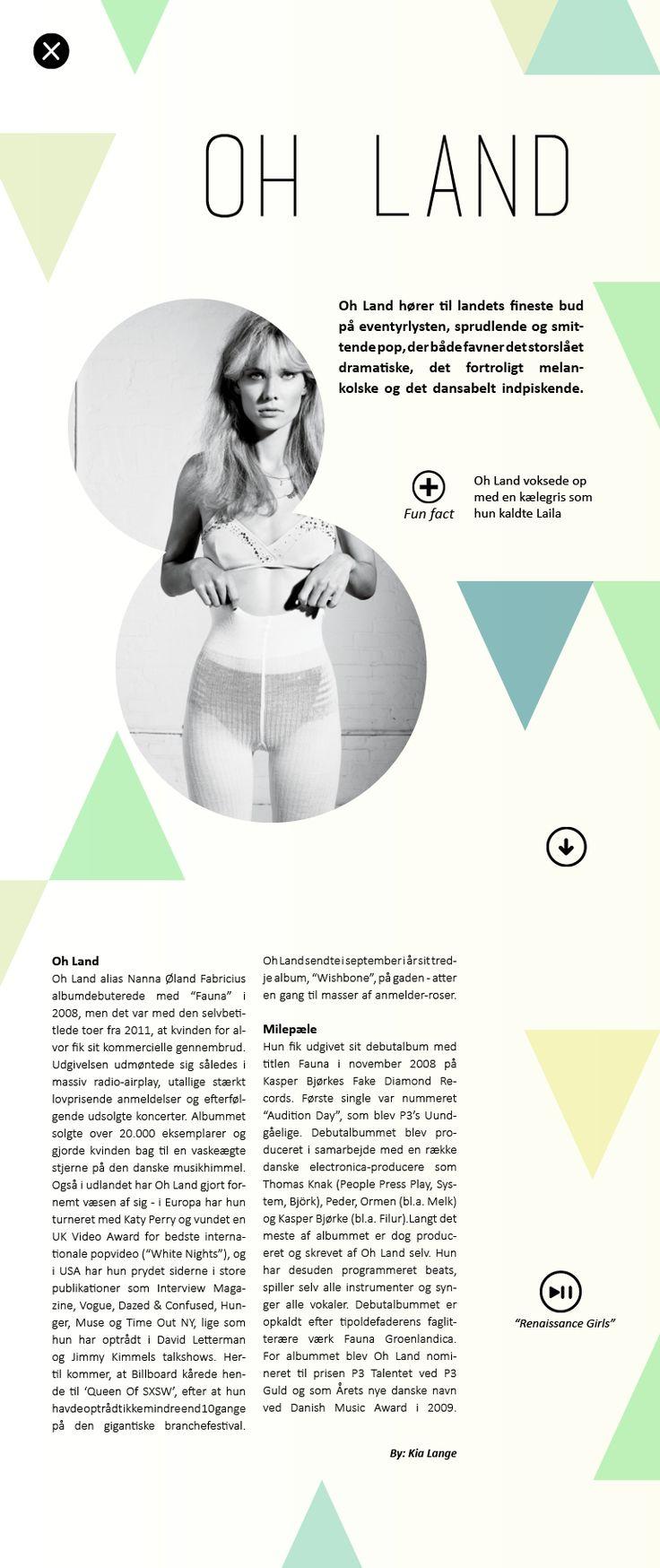 Oh Land artikel, interaktivt ipad magasin. By Kia Lange