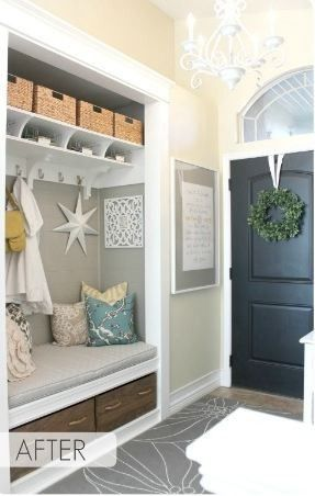 Transforming a Standard Coat Closet Into a Charming Entry Nook #renovation #homedecor http://www.cleanerscambridge.com/