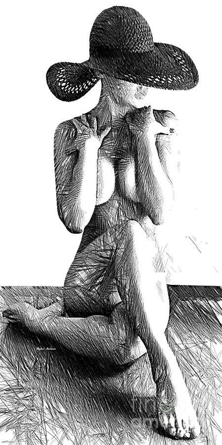 Woman Sketch In Black And White Digital Art by Rafael Salazar
