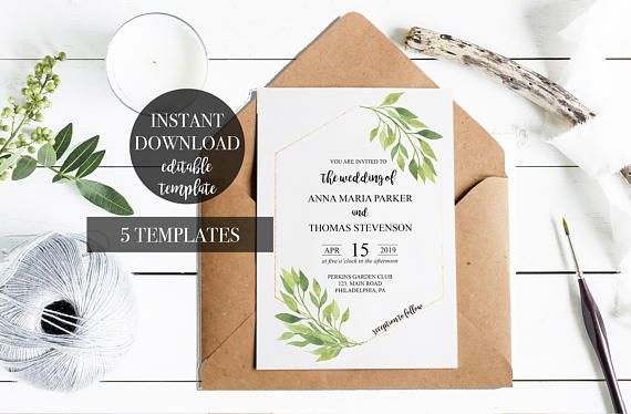 Wedding Invitation suite template INSTANT Download