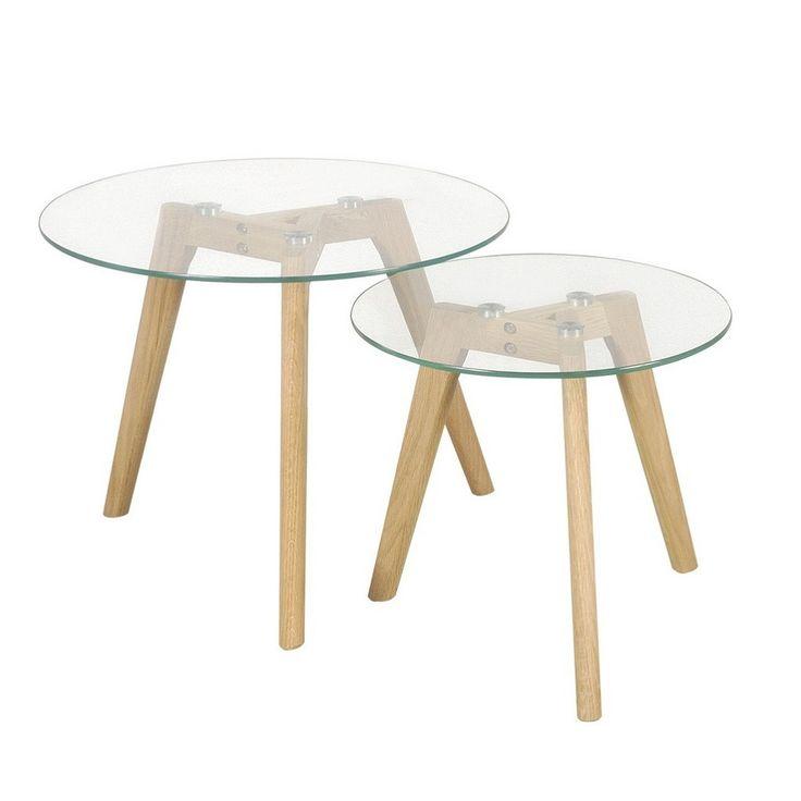 mesa ratona escandinava x 2 unidades 50cm y 40cm tapa vidrio