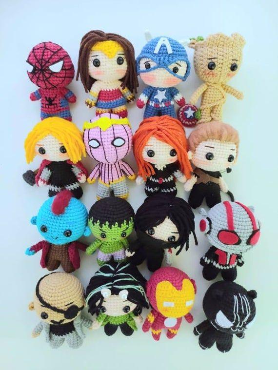 Avengers Super Hero Doll Marvel Crochet Amigurumi Doll Captain America Black Panther Black Widow Crochet Doll Wonder Women Crochet Superhero Dolls Crochet Doll Amigurumi Doll