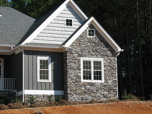 Board and batten with stone country home pinterest for House siding designs