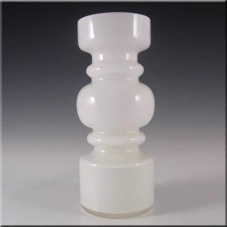 Lindshammar 1970's Swedish White Hooped Glass Vase - £120.00