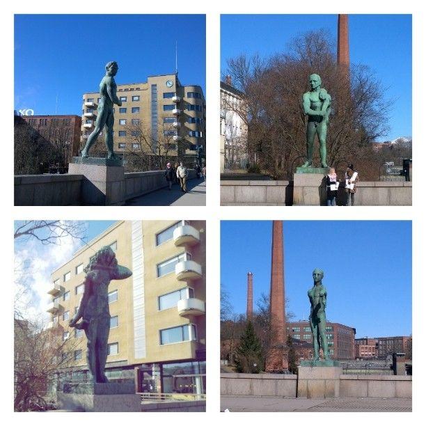 Statues in Tampere. Made by Väinö Aaltonen. #status #Hämeensilta #suomenneito #veronkantaja #eränkävijä #kauppias #Tammerkoski #Tampere #VisitTampere #VisitFinland #turist #travel #city #citytour #sun #niceday #dayoff