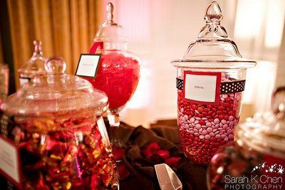 """""""Red candy"""" bar for party favors. Thinking """"Fire balls"""" and """"Cinnamon red hots"""" to stick with the """"FIRE"""" theme, hehe! Plus licorice and swedish fish, of course."""