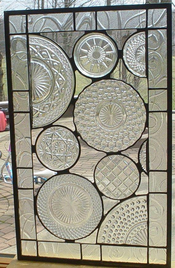 Vintage panneau de plaque de verre. Excellente façon d'utiliser jolies plaques.