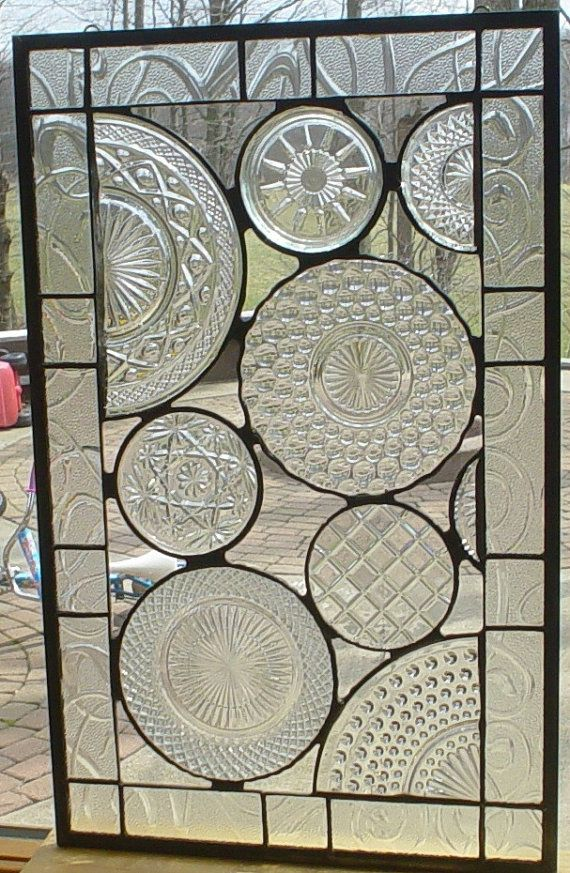 OK- this is pretty much incredible!!! Vintage Crystal Plate panel by Barbarasstainedglass on Etsy
