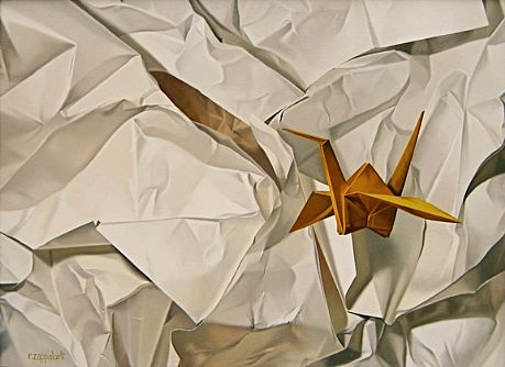 Robert E. Zappalorti, Crushed and Folded, 2010, oil on panel, 11 1/2 X 15 1/2 inches