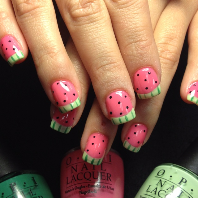 Ready for a picnic??: Fashion Makeup Hair Nails, Hair Nails Beautiful, Hair Nails Beauty, Fingernail Design, Nails Obsessions, Little Girls Nails, 1S Nails, Watermelon Nails, Little Girl Nails
