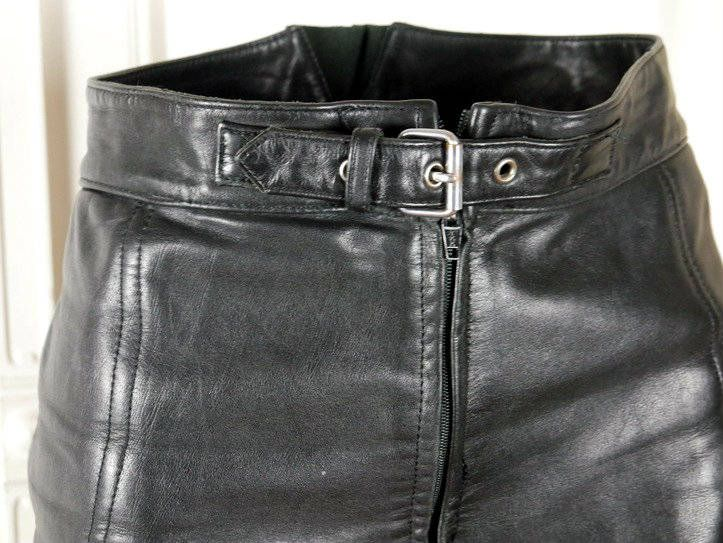 German Leather Motorcycle Capri Pants, Black Leather Ladies Biker Trousers, Women's Leather Pants Size: 6 (US), 10 (UK), 28-Inch Waist by YouLookAmazing on Etsy