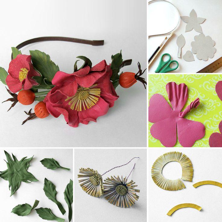 "Leather flower tiara tutorial   Создаем ободок из кожи ""Дикая роза"""