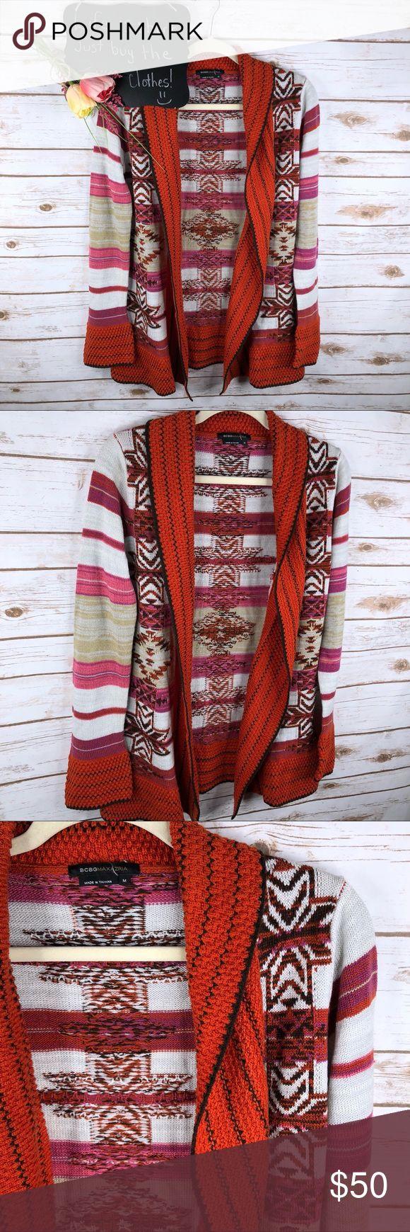 BCBGMaxazria tribal print chunky open front cardi