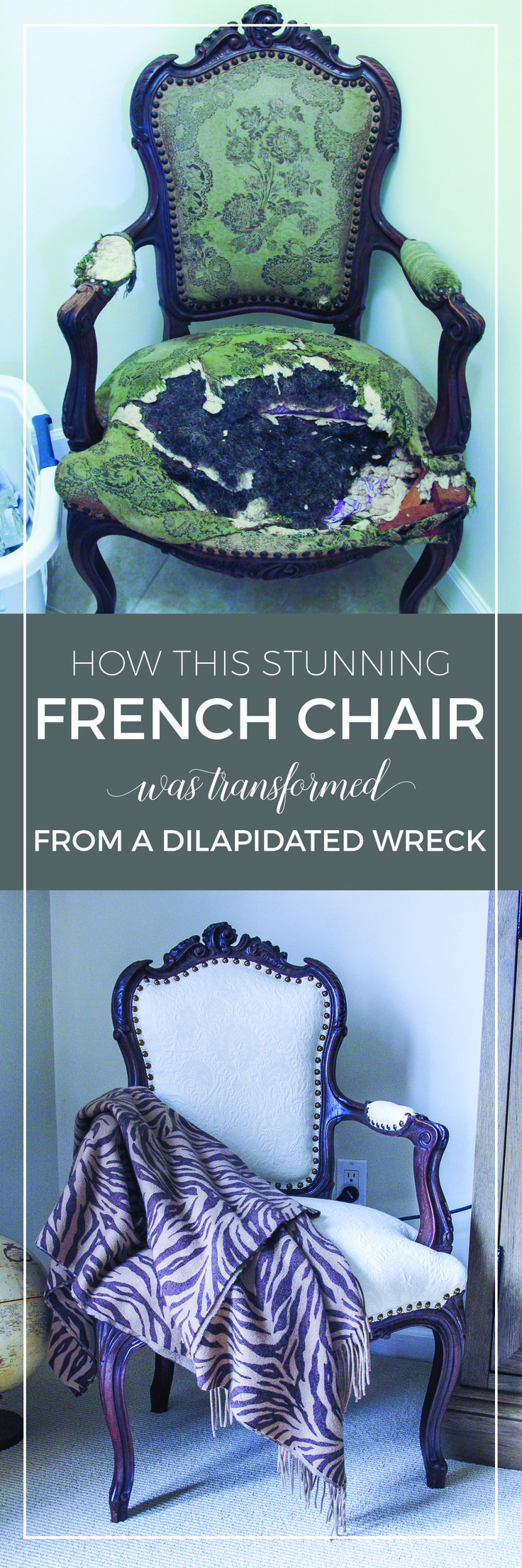 How this stunning French chair was transformed from a dilapidated wreck | Vintage French chair makeover |  Reupholster a beautiful French armchair | French bedroom decor ideas | designthusiasm.com