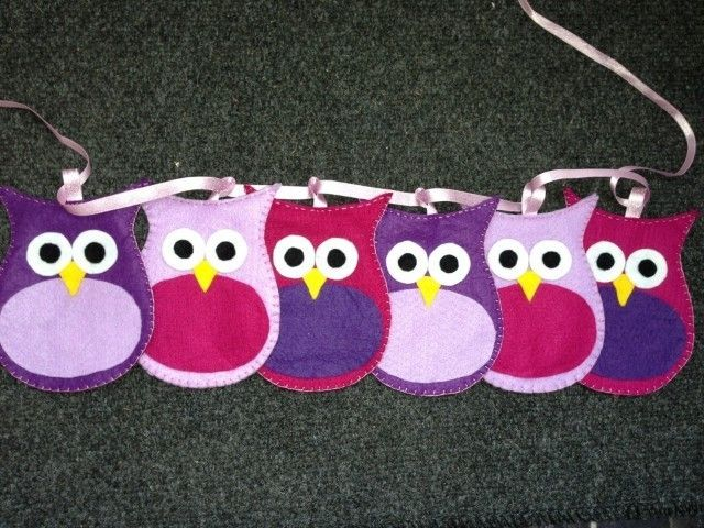 Funky girls felt Owl Bunting..... - The Supermums Craft Fair