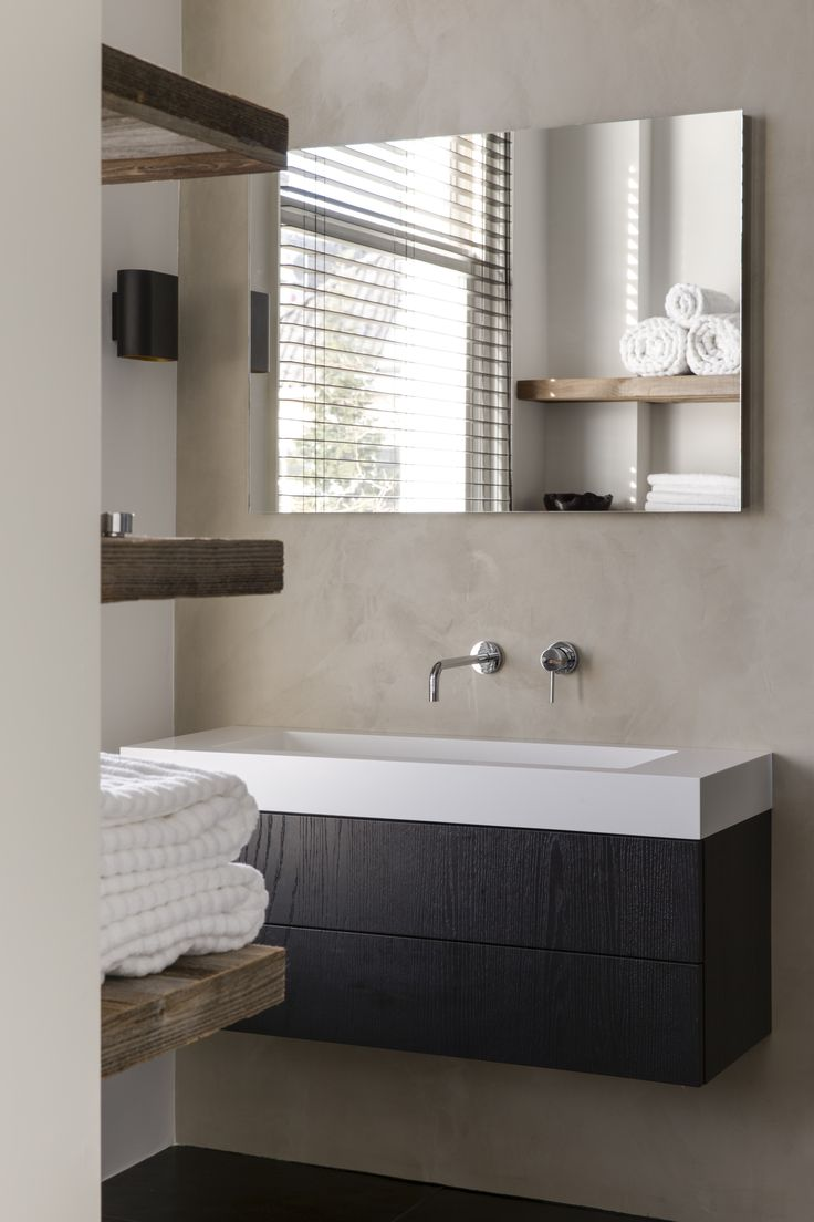 modern look with this floating vanity  www.remodelworks.com