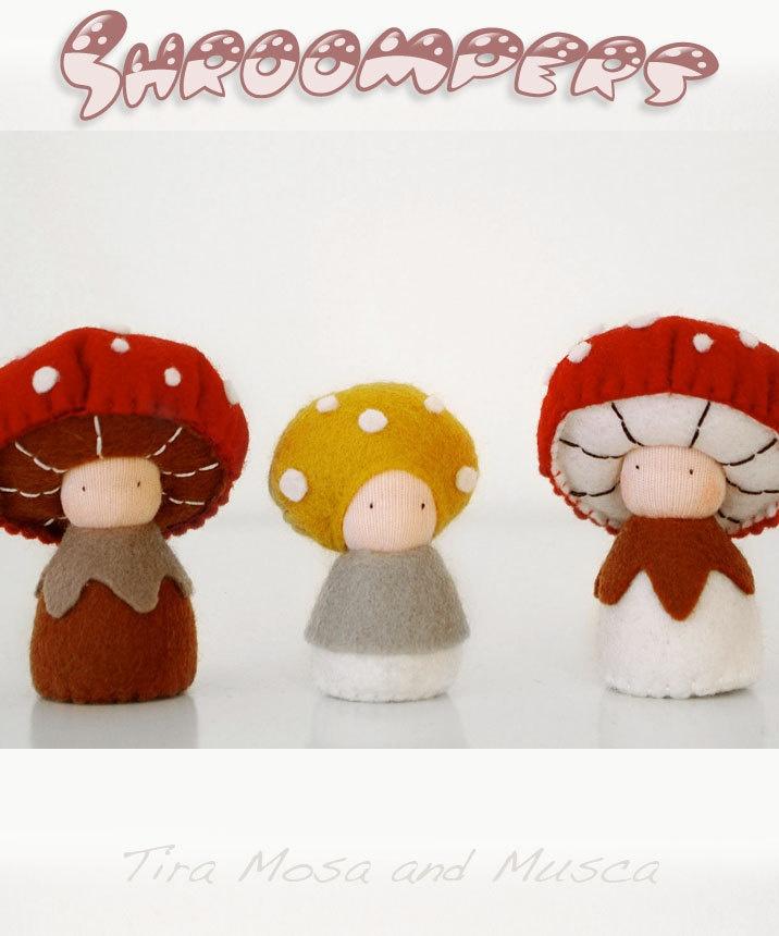 Mushroom Waldorf dolls, Etsy.