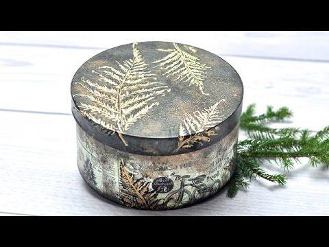 Decoupage Pudełko mixmedia z paprociami TUTORIAL DIY