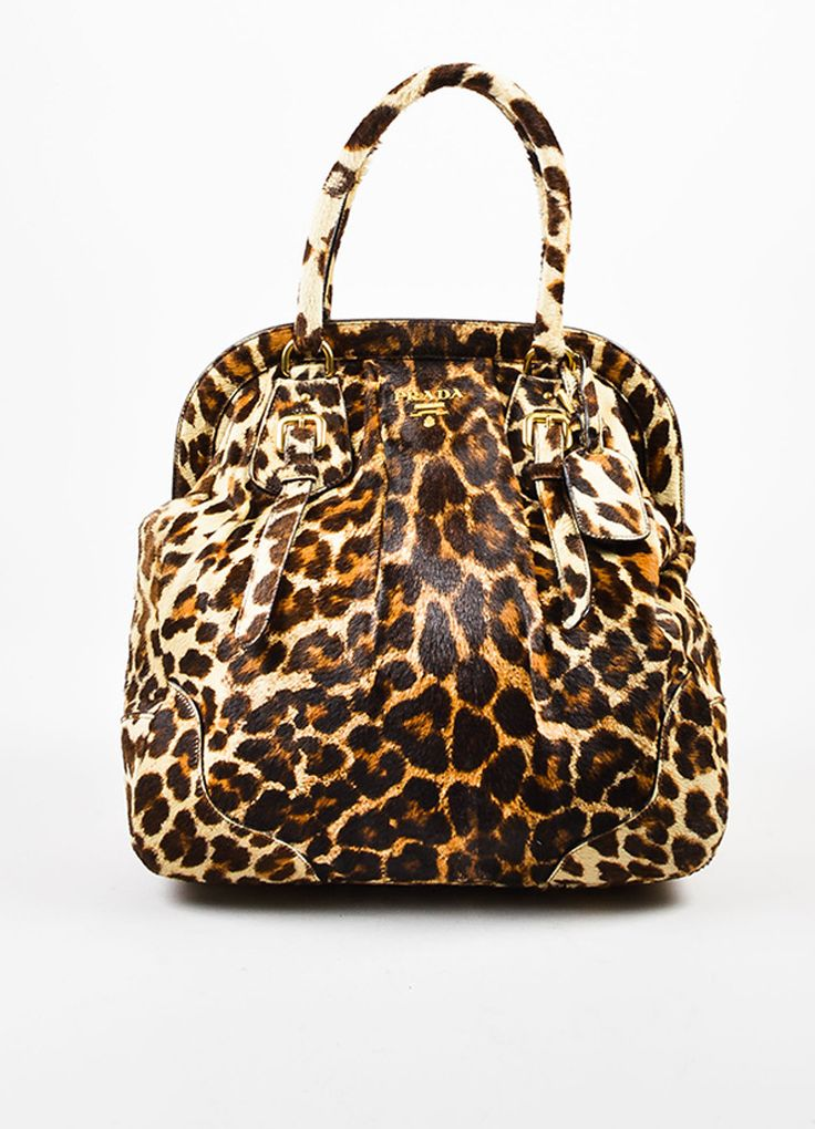 Prada Brown, Tan, and Cream Pony Hair and Leather Leopard Print Cavallino Frame Tote Bag
