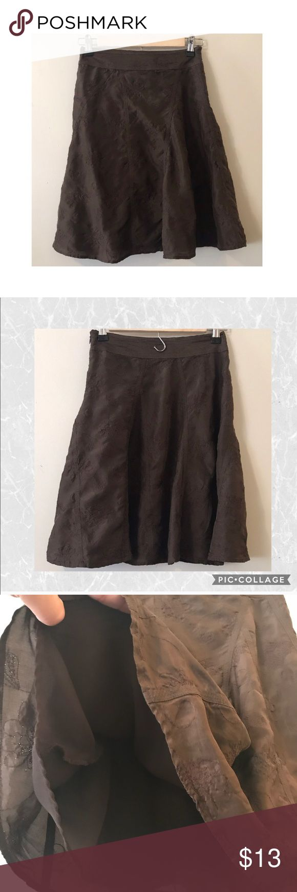 "Forever21 Brown Embroidered Skirt Pre loved in Great conditions brown Embroidered skirt. Fully lined. Approx measurements laying flat 20""L Waist 12.5"" and 100% Silk Forever 21 Skirts"
