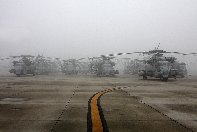 USMC CH-53E Super Stallions in morning fog, MCAS Miramar, CA; by Sonic Images...
