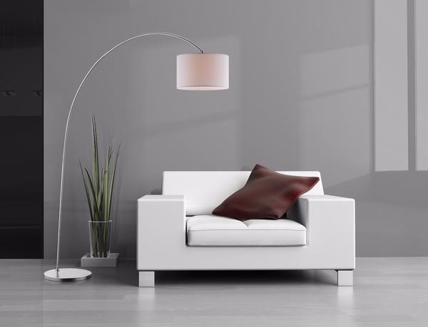 Luce Lumen Ashley lampe de plancher nickel brossé avec abat-jour blanc  LL1069