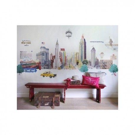 Mural New York. Mural de papel pintado estampado con la ciudad de Nueva York. Medidas: 3.72m x 2.70m (disponible a la medida) Fácil de colocar, ignifugo y lavable. Gran calidad de las imágenes