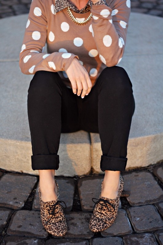 Leopard Oxfords   Polka Dot Sweater Mixed Prints   Haute Glam Giveaway Winner