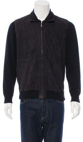 Brioni Suede-Paneled Cashmere Jacket