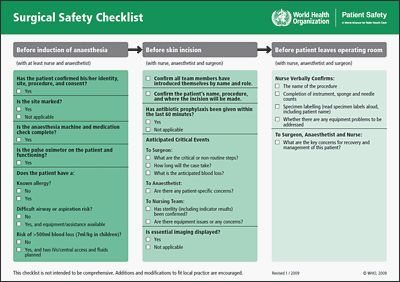 WHO Surgical Safety Checklist — This could save your life! Download the World Health Organization's checklist PDF (in English, Spanish, Russian, Arabic, French, and Chinese), take it to your doctor and ask if they are following this before your surgery.   |   World Health Organization
