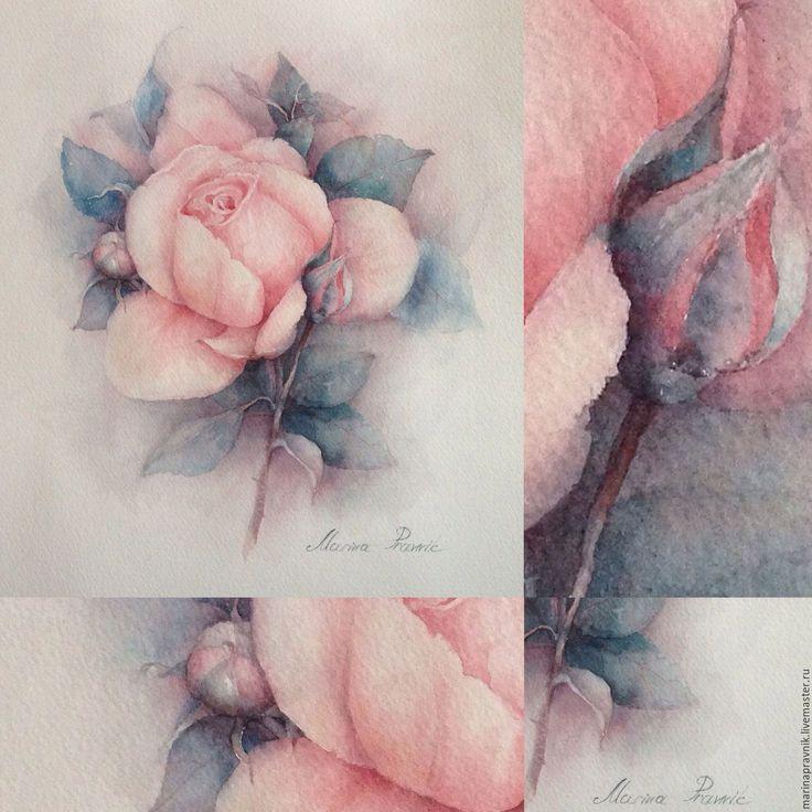 Купить Английская роза... - бледно-розовый, акварель, Живопись, цветы, цветок, цветочный, ботанический рисунок