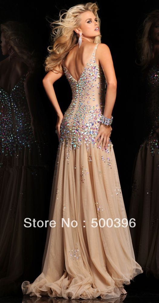Fabulous Rhinestone Sexy V-neck Empire Waist Open Back Champagne Ice Blue Chiffon Mermaid Prom Dress 2013 Free Shipping $189.99